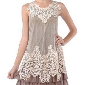Anthropologie Ryu Embroidered Sheer Overlay Dress